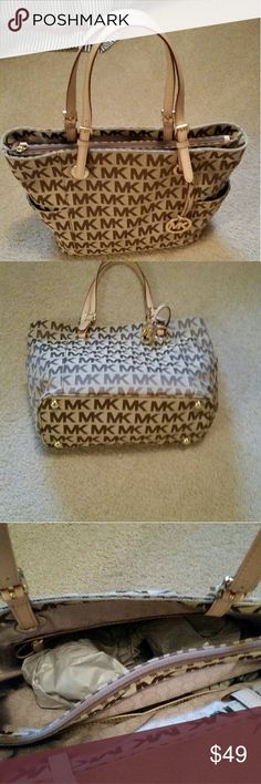 Michael Kors jet set tote MK brown signature with a tan background..gently used. Michael Kors Bags Totes