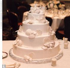 Julie and Christian cut a four-tier cake decorated with shells.