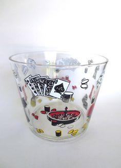 Las Vegas Casino Glass Ice Bucket, Gambling Snack Bowl, Roulette Wheel Dice Chess, Swanky Bar Decor, Mod Cocktail Party, Jackpot Jen Vintage by JackpotJen on Etsy