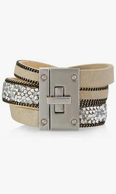 Crushed Bead And Leather Turnlock Bracelet | Express