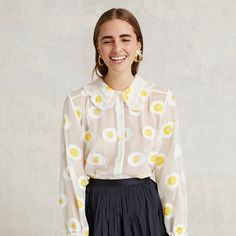 Ruffle Fil Coupe Shirt in Yellow by Trademark $225