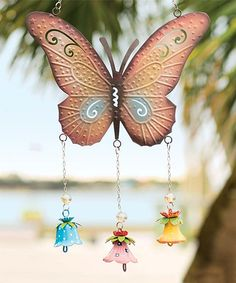 Look what I found on #zulily! Copper & Pink Butterfly Wind Chime by Wind and Weather #zulilyfinds