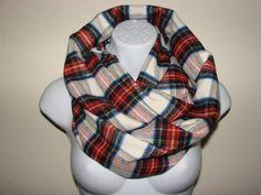 cream rust brown plaid infinity scarf Flannel by OtiliaBoutique Plaid Flannel, Blue Plaid, Plaid Scarf, Yellow Black, Red And Blue, Plaid Infinity Scarf, Autumn Winter Fashion, Rust, Cream