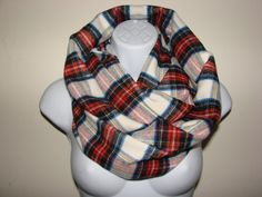 cream rust brown plaid infinity scarf  Flannel by OtiliaBoutique