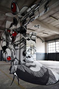 """""""Medusa"""" - graffiti seen only from a certain viewpoint painted by and Graffiti Words, Urban Graffiti, Street Art Graffiti, Turin, Mural Art, Murals, Stencil Art, Chalk Art, Installation Art"""