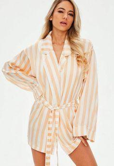 d811b44491 Missguided Peach Stripe Satin Piped Robe Pyjamas
