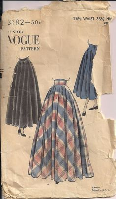 Vintage 40s Sewing Pattern Vogue Maxi Skirt or Day Skirt by HoneymoonBus, $9.99