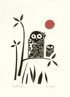 Owl Print  Original Lino Block Print  Black by TheBluebirdGallery