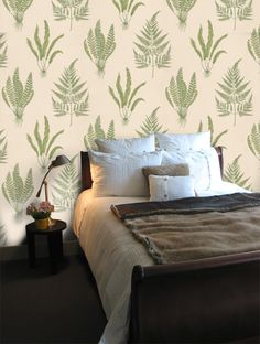 Buy Woodland Fern, a feature wallpaper from Sanderson, featured in the A Painter's Garden collection from Fashion Wallpaper. Fern Wallpaper, Feature Wallpaper, Fashion Wallpaper, Bedroom Colors, Ferns, Woodland, Traditional, Furniture, Study