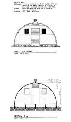 The rounded shape of the Quonset Hut made it easy to erect and stable in most every kind of weather. Front and back elevation views of a military quonset hut.