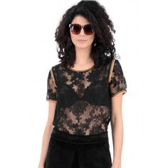 474c83fa91dbe4 Black Lace Top With Gold And Coral Trim Black Lace Tops