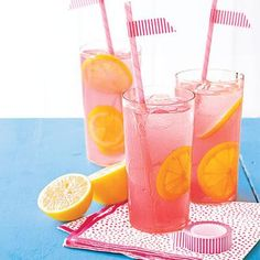 Sweet Pink Lemonade - Bring 6 cups water, 1 1/2 cups sugar and 1/4 tsp. salt to a boil in a pan over high heat, stirring occasionally. Remove pan from heat, cover and let stand for 10 minutes. Puree 4 cups chopped watermelon in a blender with 1 cup water. Pour syrup and watermelon puree through a strainer into a pitcher. Stir in 2 cups lemon juice (from about 8 lemons). Serve over ice. Makes 12 servings.