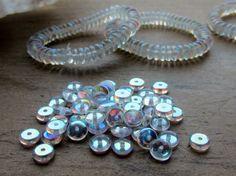 Czech Glass Small Disc Bead 5mm x 2mm Crystal by gypsybeadpeddler