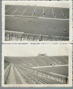 1940s? Photos ~ Empty Notre Dame Football Stadium ~ People on Field