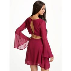 Yoins Burgundy Bell Sleeve Reveal Back Dress -Burgundy  S/M/L (245 ZAR) ❤ liked on Polyvore featuring dresses, burgundy, cocktail dresses, flared sleeve dress, chiffon cocktail dress, button dress, burgundy dress and v neck cocktail dress