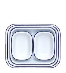 From an British company that has been making enamelware since the 1920s, this classic set contains 5 casserole or sheet cake shaped baking dishes. White with blue rim.  Enamelware is made from porcelain fused onto heavy-gauge steel. It is perfect for baking in the oven and can also be used on the stovetop. Dishwasher safe.