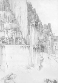 """celebanaralive: """" alan lee,the lord of the rings sketchbook, minas tirith """""""