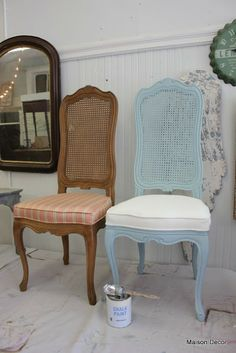 Maison Decor: Painting Chairs~frame and fabric! and a lot more...