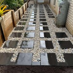 Quadro Pavers with Cowra White Pebbles Project Steps, White Pebbles, Outdoor Spaces, Outdoor Decor, Design Consultant, Gold Coast, Stepping Stones, Grass, Landscape