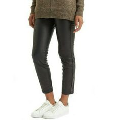 "Topshop Cropped Trouser Skinny high shine faux leather trouser gives a glossy look and adds retro glam to any outfit. Inseam 27"" Rise 11 1/2 front 15"" back 11"" leg opening. 100% polyester with polyurethane coating. Fits like US size 6-8 Topshop Pants Skinny"