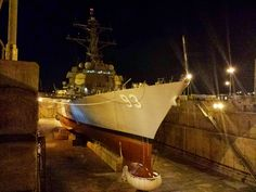 USS Chung Hoon (DDG-93) in dry dock Pearl Harbor at night, 2013 [4128 x 3096] [OC]