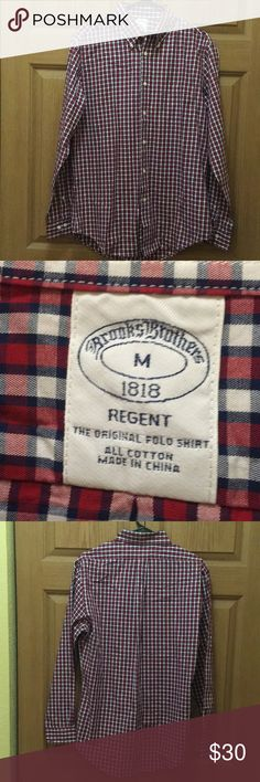 👕Men's Brooks Brother Long Sleeve Size Medium -Brand: Brooks Brothers -Size: Medium -Color: Red and White Plaid -Button down  -Long Sleeve -Excellent Condition! -NWOT  All Cotton Made In USA. Brooks Brothers Shirts Casual Button Down Shirts