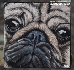"""'Bulgy-eyed Cuteness' If there's one thing I love to paint, it's dogs. Here's a close up of a pug, just the way I like 'em. Acrylics on 6x6x1.5"""" canvas"""