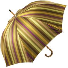 Luxury Gents Gold Multi Stripe Umbrella with Bamboo Handle by Pasotti ❤ liked on Polyvore featuring accessories, umbrellas, striped umbrella, gold umbrella and bamboo umbrella