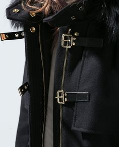 DUFFLE COAT WITH FUR HOOD from Zara