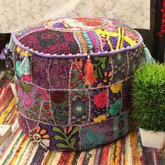 Indian Pouf Bohemian Patchwork Purple Pouffes Ottoman Vintage Indian pouffe Foot Stool bean bag Ethn Hippie Bedroom Decor, Bohemian Decor, Bohemian Style, Ottoman Cover, Pouf Ottoman, Hippie Boho, Hippie Vibes, Indian Crafts, Old Clothes