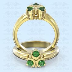 Glorious Custom made Zelda Ocarina Hyrule Warrior inspired ring with Natural Emerald stones / Silver.925 or Gold 14K made to order