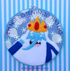 Adventure TimeIce King Embroidery 9 inches by IggyStarpup on Etsy