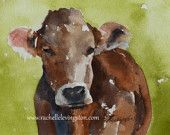 Large COW Print in Green boy room decor boy wall art nursery decor Watercolor cow art PRINT 11x14 from original cow painting farm brown