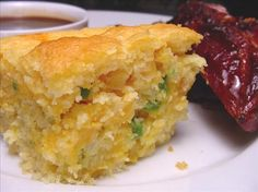 Paula Deen s Layered Mexican Cornbread - Made this today and it was so good. Added a can of chopped green chilies and use cheddar jack cheese. Mexican Dishes, Mexican Food Recipes, Ethnic Recipes, Mexican Corn Bread Recipe, Mexican Meals, Paula Dean Corn Bread Recipe, Mexican Tacos, Mexican Chicken, Chicken Chili
