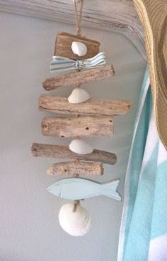 color palette for bathroom: driftwood/seaglass blues driftwood shell garland - rustic natural beach house decor Driftwood Mobile, Driftwood Art, Driftwood Furniture, Driftwood Sculpture, Seashell Crafts, Beach Crafts, Deco Marine, Deco Nature, Driftwood Projects