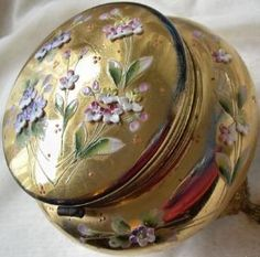 Moser Bohemian Enameled Glass Hinged Jewelry or Vanity Box or Casket | PetitPoulailler - Glass on ArtFire