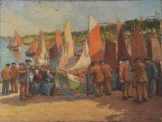 """Jules Benoit Levy (1866-1952), """"Douarnenez, le retour des thoniers"""""""