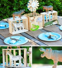 "Zoo Party ~ decorate with animal cages made with popsicle sticks--pinned here with a real life warning. My sister once ""surprised"" me when I was little with a circus themed birthday--using my stuffed animals she put in fake cages. I was devastated she had caged my friends and cried and raged at her. True story!"