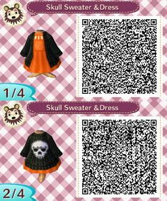 """acnl-anaarin: """" Dress with Cable Knit Skull Sweater More Halloween stuff here. Animal Crossing Qr Codes Clothes, Animal Crossing Pocket Camp, Animal Crossing Game, Motif Acnl, Hello Kitty Toys, Skull Sweater, Ac New Leaf, Shadow Of The Colossus, Cute Games"""