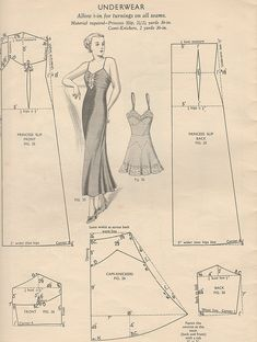 Understanding The Vintage Sewing Pattern - Sewing Method Lingerie Patterns, Sewing Lingerie, Barbie Patterns, Vintage Lingerie, Doll Clothes Patterns, Free Sewing, Vintage Sewing Patterns, Clothing Patterns, Vintage Underwear