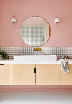 Interior stylist Emma O'Meara's colourful home with bold ideas - An interior stylist with a passion for all things bold and beautiful has created a unique haven for her family in coastal Victoria. Bathroom Colors, White Bathroom, Pink Bathrooms, Bathroom Ideas, Bathroom Mirrors, Bathroom Cabinets, Pastel Bathroom, Pink Bathroom Tiles, Colorful Bathroom