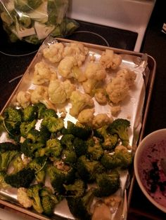 Broccoli and cauliflower florets get roasted, the stalks get juiced!