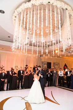 Floral, Ceiling Installation with Glass Orbs | Photography: Abby Jiu Photography. Read More: http://www.insideweddings.com/weddings/ballroom-wedding-with-classic-color-scheme-modern-catering-trends/827/