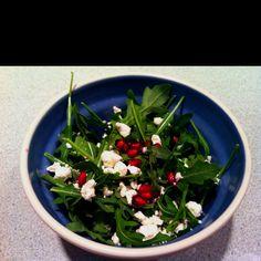 Valentines day salad.  Baby arugula, pomegranate seeds, chèvre and champagne vinaigrette.  So yummy!