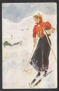 A. Bloch - Dame på ski brukt 1907 Utg Mittet Art Deco Paintings, Skiing, Christmas Ideas, Posters, Kunst, Ski, Poster, Billboard