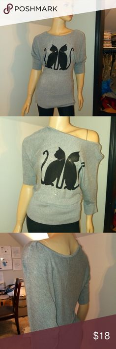 Kitty cat thin sweater top So cute. Bling on collar of kitties. On shoulder or off. White House Black Market Tops Blouses