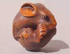 #44 - Coiled Rat Netsuke - Masanao, 19th C, Boxwood