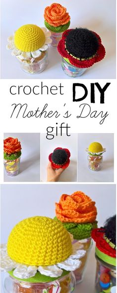 DIY project crochet flower on a recycled jar perfect as Mother's Day gift!