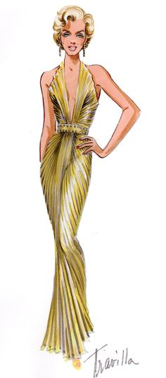 """William Travilla's costume design for the """"sunburst"""" dress, originally designed for a scene in """"Gentlemen Prefer Blondes"""" but was deigned too risque for the screen. You see it briefly in a scene when she's dancing,"""