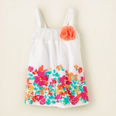 baby girl - tanks & camis - floral border top | Childrens Clothing | Kids Clothes | The Childrens Place